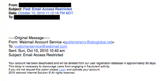 SBC Global phishing example