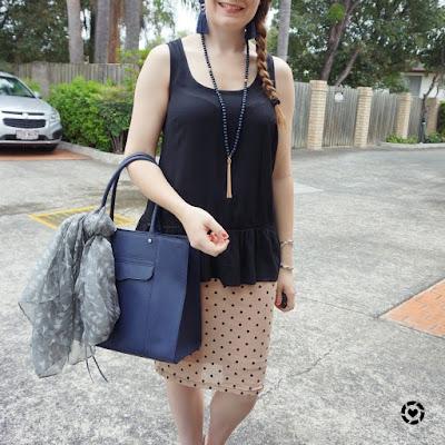 awayfromtheblue instagram   black peplum tank with blush polka dot pencil skirt navy mab tote bag with scarf