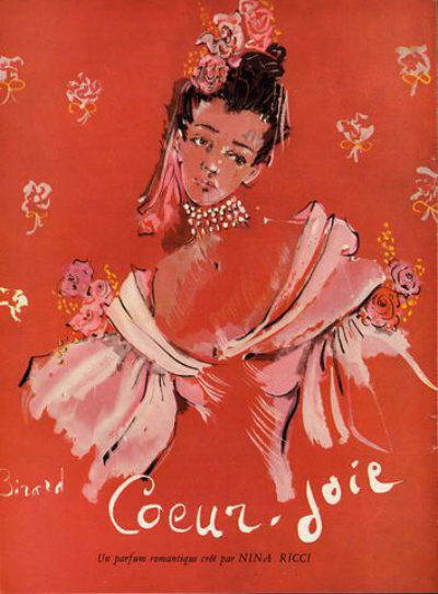 Rose Pink illustration by Christian Berard for The House of Ricci Fragrance Coeur-Joie