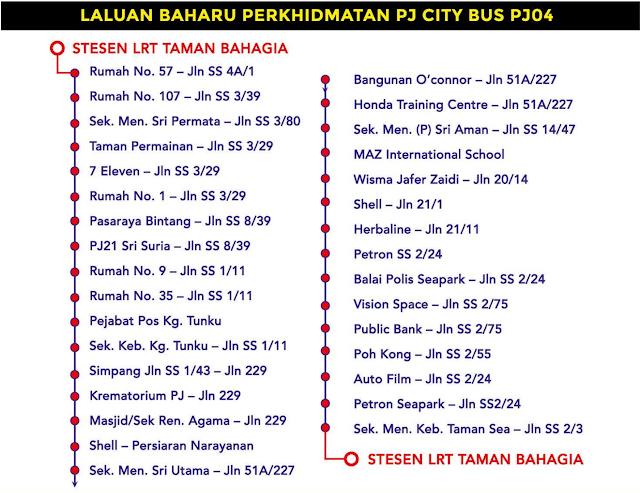 Laluan PJ City Bus PJ04 Bas Percuma