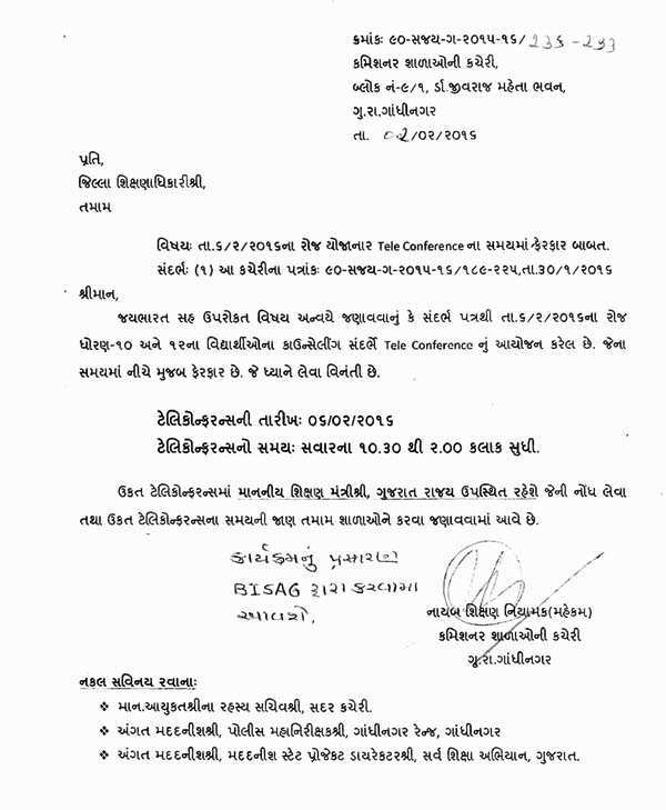 Educational Circular : Dt. 06-02-2016 na Aayojit Teleconference Na Time Ma Ferfar Babat