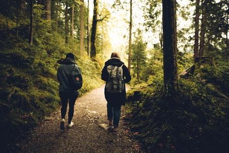 hiking, man and woman hiking, man and woman on a hike