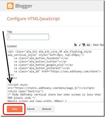 add-floating-share-buttons-code-into-html-javascript-widget-of-blogspot