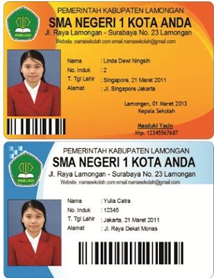 Contoh Desain Kartu Siswa barcode