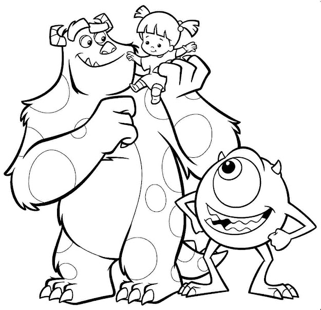 Monster Inc Coloring Pages Printable Monsters Free Image Coloring Page  Full Version