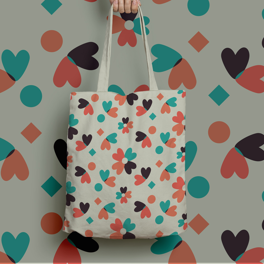 "Nice tote bag with geometric pattern ""Clementine"""