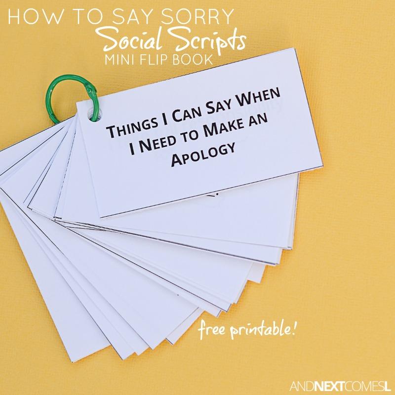 How to Apologize Social Scripts Mini Flip Book {Free Printable