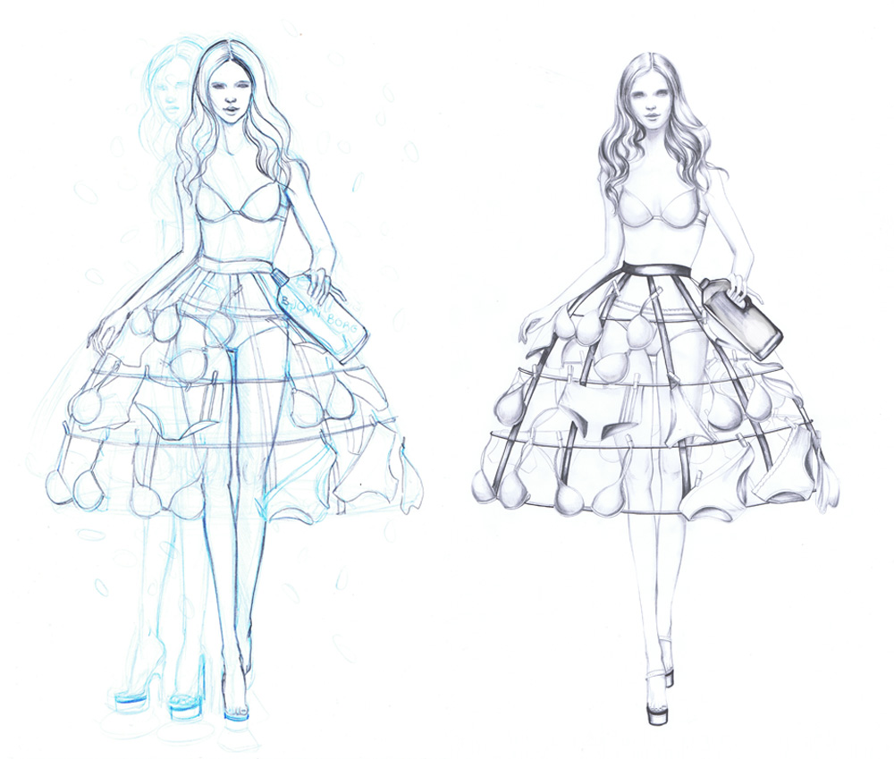 fashion sketchbook with templates - art illustration by marjolein caljouw february 2011