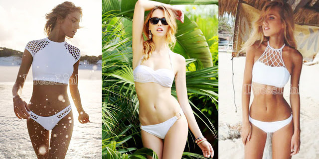 Find this cutout two-piece white swimsuit, gold ring-embellished sexy bikini set, and white lattice halter bikini from Dresslink.