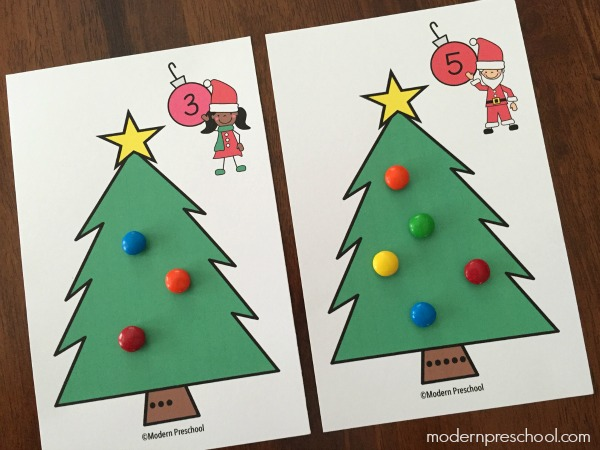 Christmas Preschool.Christmas Tree Counting Number Cards