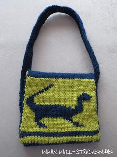 Gestrickte Kindergartentasche Dinosaurier