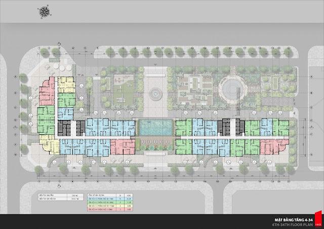 Mặt bằng thiết kế sàn căn hộ tầng 4-34