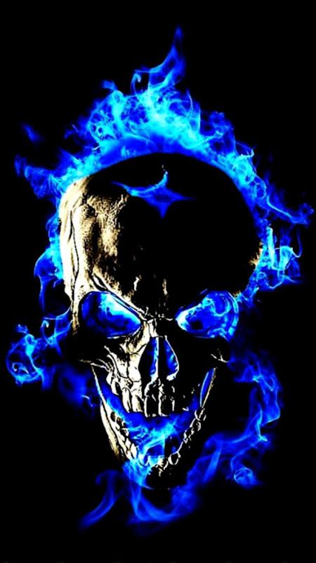 blue flame skull fire coolest skull wallpaper for free skull
