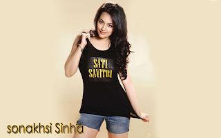 Sonakshi Sinha In Black Color T-Shirt