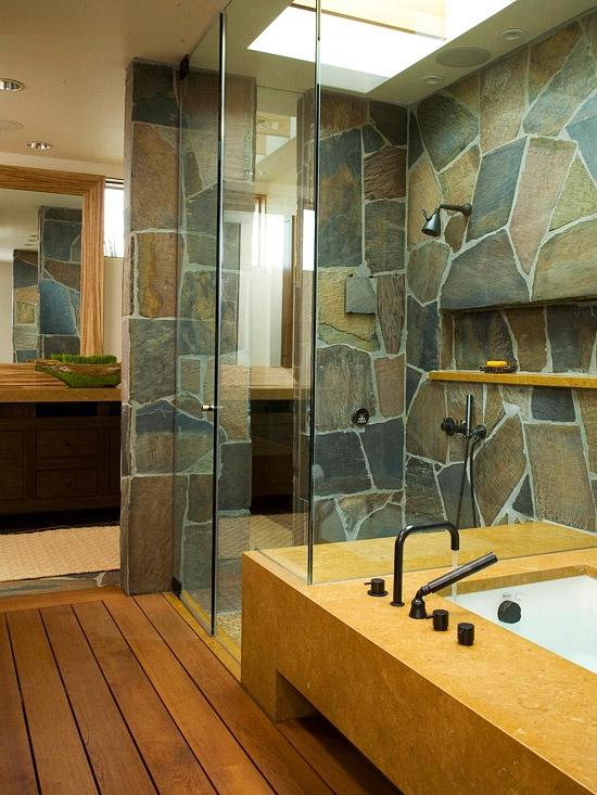 Desain kamar mandi dengan batu alam