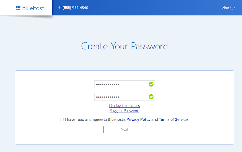 Create Login Credentials in bluehost