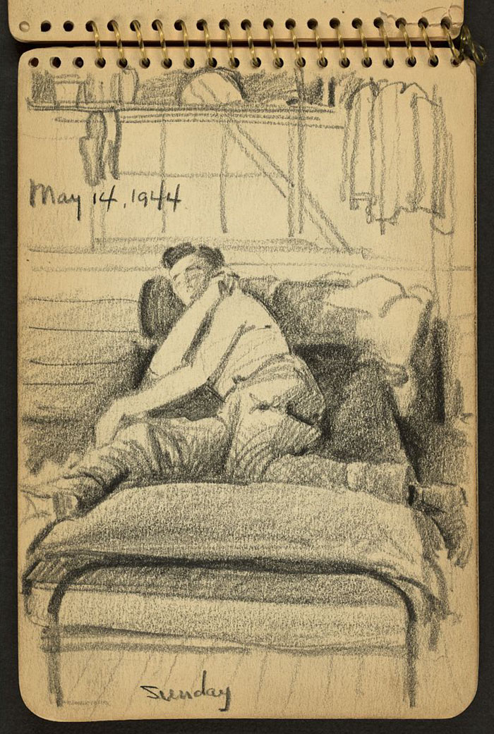 21-Year-Old WWII Soldier's Sketchbooks Show War Through The Eyes Of An Architect - Sunday. Soldier In Bed While Stationed At Fort Jackson, South Carolina