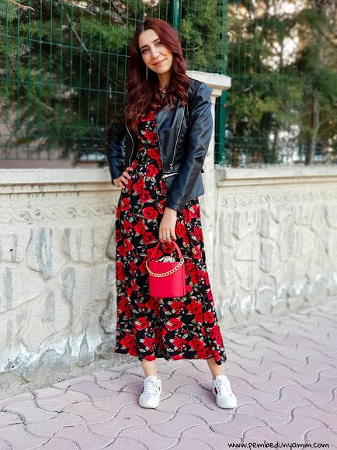 çiçekli elbise kombinleri