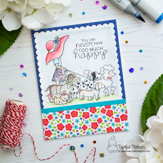 Happy Dog Walker Card by Zsofia Molnar | Walking Woofs Stamp Set and Frames & Flags Die Set by Newton's Nook Designs #newtonsnook #handmade