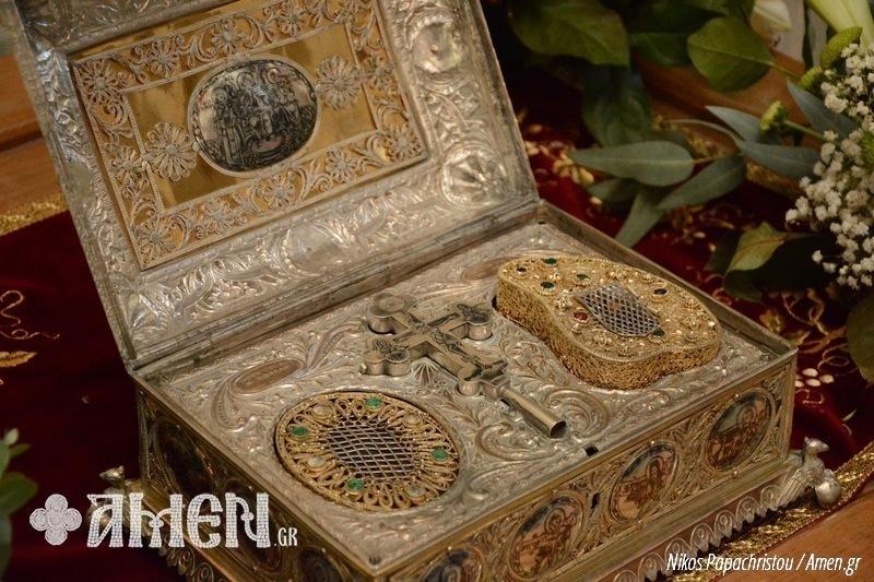 Απότμημα σιαγόνος του Αγίου Ιωάννη του Προδρόμου και Βαπτιστού. Ιερά Μονή Σταυρονικήτα Αγίου Όρους. https://leipsanothiki.blogspot.be/