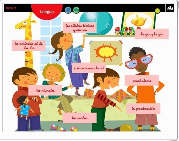 """""""Actividades interactivas de Lengua de 2º de Primaria"""" (Editorial La Galera. Proyecto Tren 2)"""