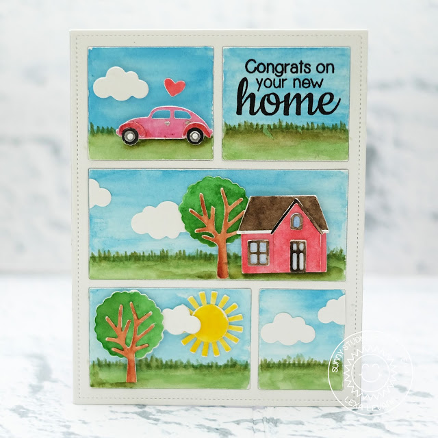 Sunny Studio Stamps: Comic Strip Everyday Dies Congrats On Your New Home Watercolored Card by Lexa Levana