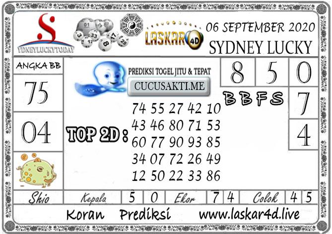 Prediksi Sydney Lucky Today LASKAR4D 06 SEPTEMBER 2020