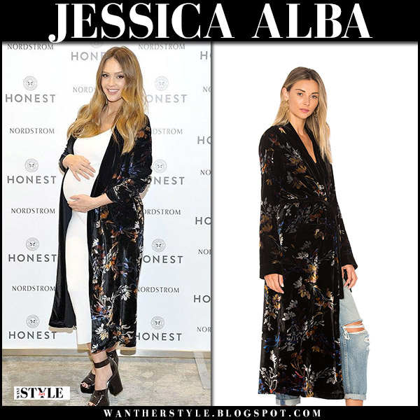 Jessica Alba in black floral velvet robe and white dress maternity dress fashion november 18 2017