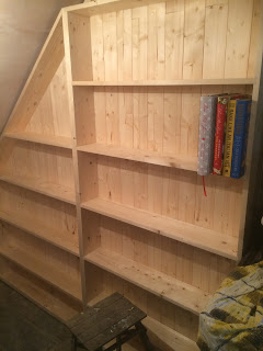 the bookcases are going in