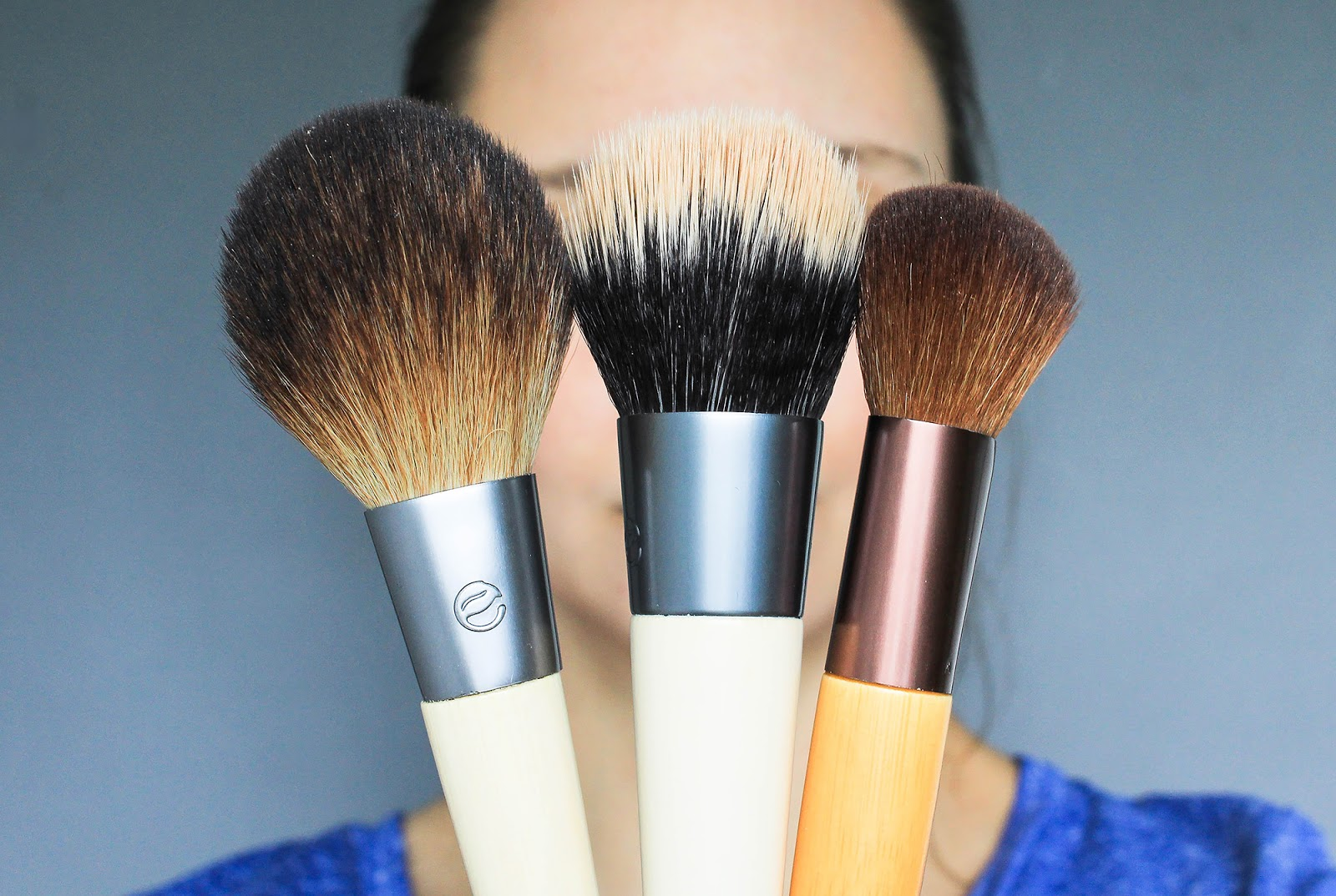 EcoTools Bamboo Sher Powder, Blending & Bronzing, Precision Blush Makeup Brushes. Vegan, cruelty free.