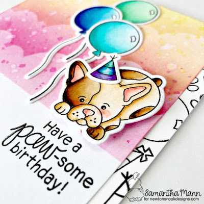 Have a Paw-some Birthday Card by Samantha Mann for Newton's Nook Designs, Birthday, Puppy, Cards, Distress Inks, Clouds, Stencil, Ink Blending, #cards, #newtonsnook #puppy #birthday #birthdaycard #inkblend