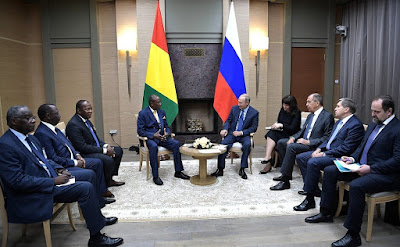 Vladimir Putin, Alpha Conde. Talks between Russia and Guinea in Moscow.