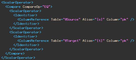 XML show plan EQ comparison