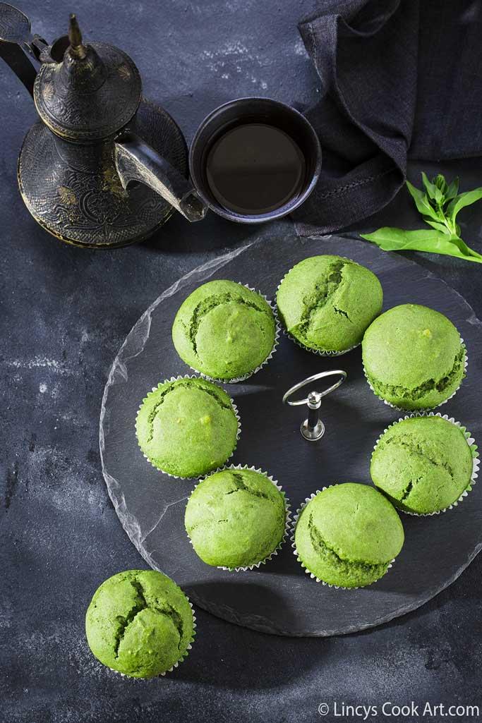 Eggless spinach banana muffins recipe