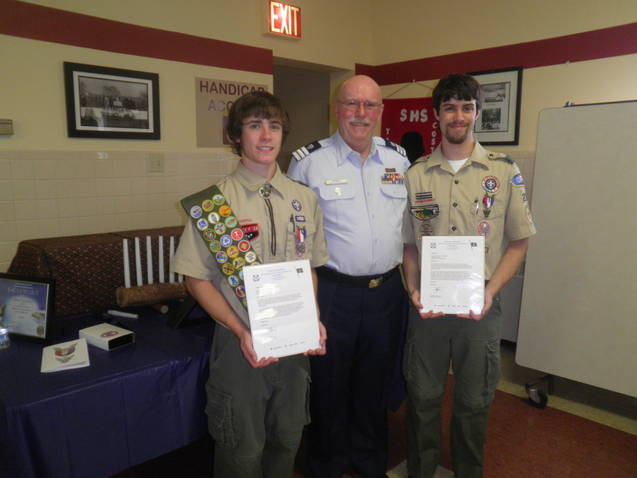 Dennis Georgia with Eagle Scouts Adam Krulewicz and Ryan Krulewicz