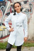 Camasa dama SunShine albastru-deschis casual asimetrica din bumbac