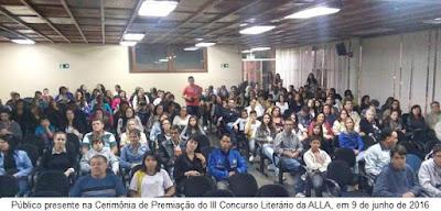 Público presente na Cerimônia de Premiação do III Concurso Literário da ALLA
