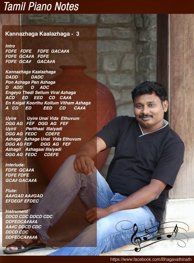 Tamil Piano Notes: Kannazhaga - Moonu