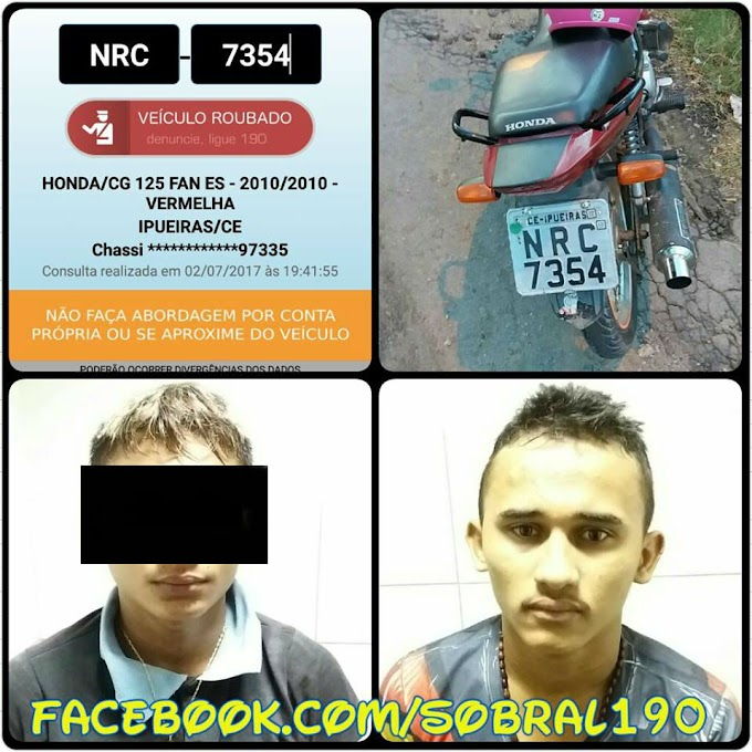 Policiais do RAIO recuperam mais uma moto roubada em Sobral