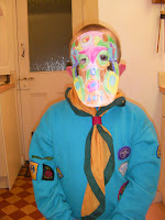 colourful mask done at beaver scouts