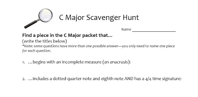 C Major packet repertoire and scavenger hunt beginning orchestra