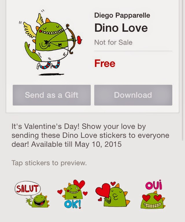 Free line sticker dino love sticker