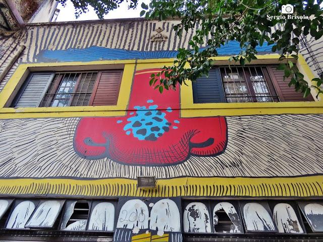 Close-up de Grafite em Fachada da Rua Dr Carvalho de Mendonça - Campos Elíseos - São Paulo