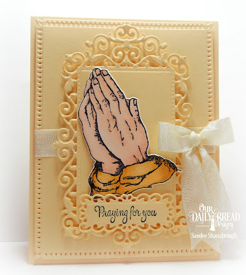 Our Daily Bread Designs Stamp: Handle With Prayer, Our Daily Bread Designs Custom Dies:Praying Hands, Filigree Frames, Snowflake Sky