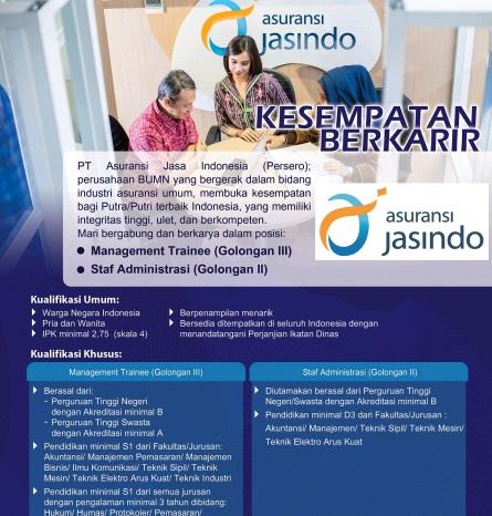 Lowongan Kerja PT Asuransi Jasa Indonesia (Persero) Juni 2016