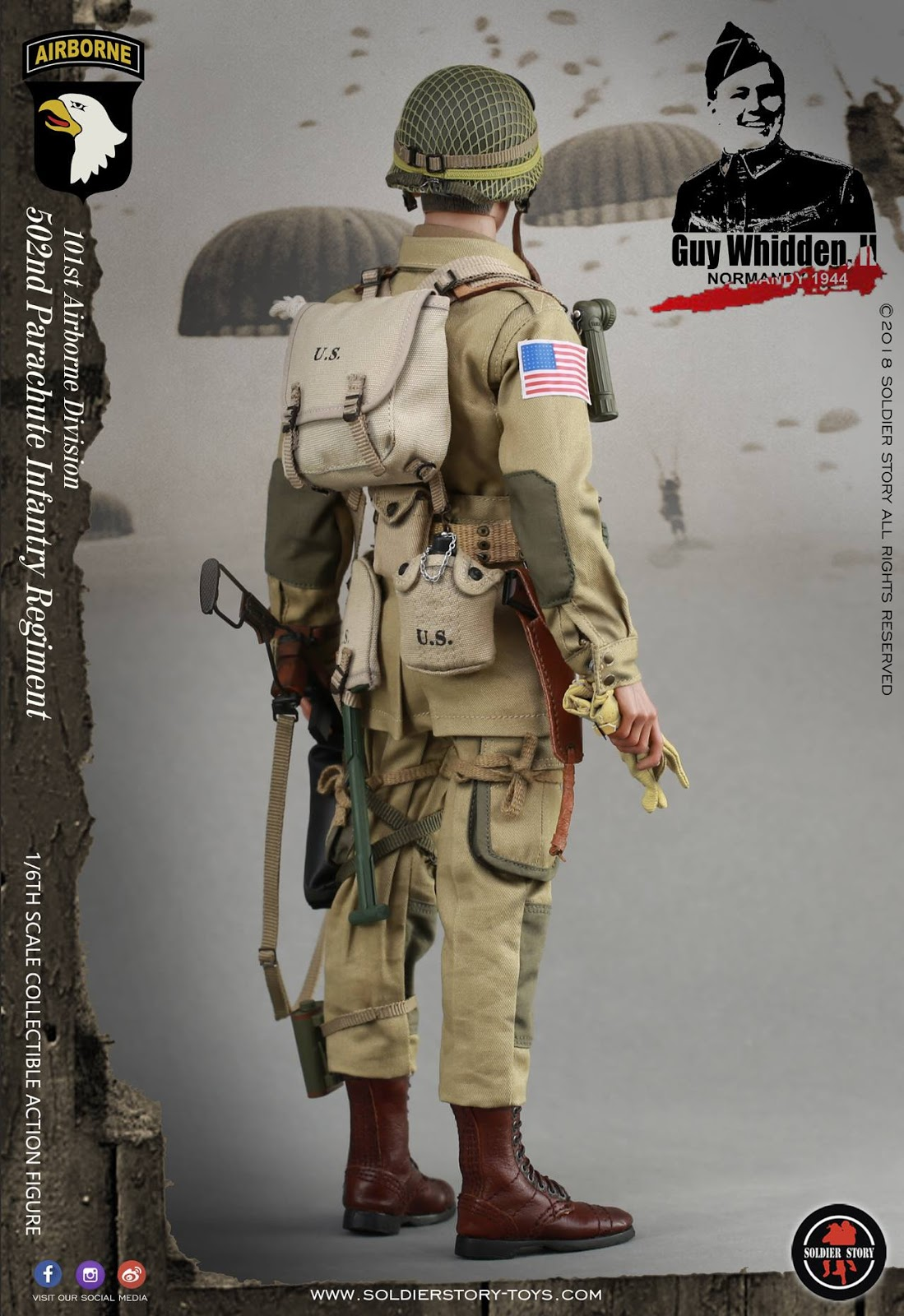 SoldierStory SS110 1//6th WWII 101st Airborne Division Guy Whidden Figure Helmet