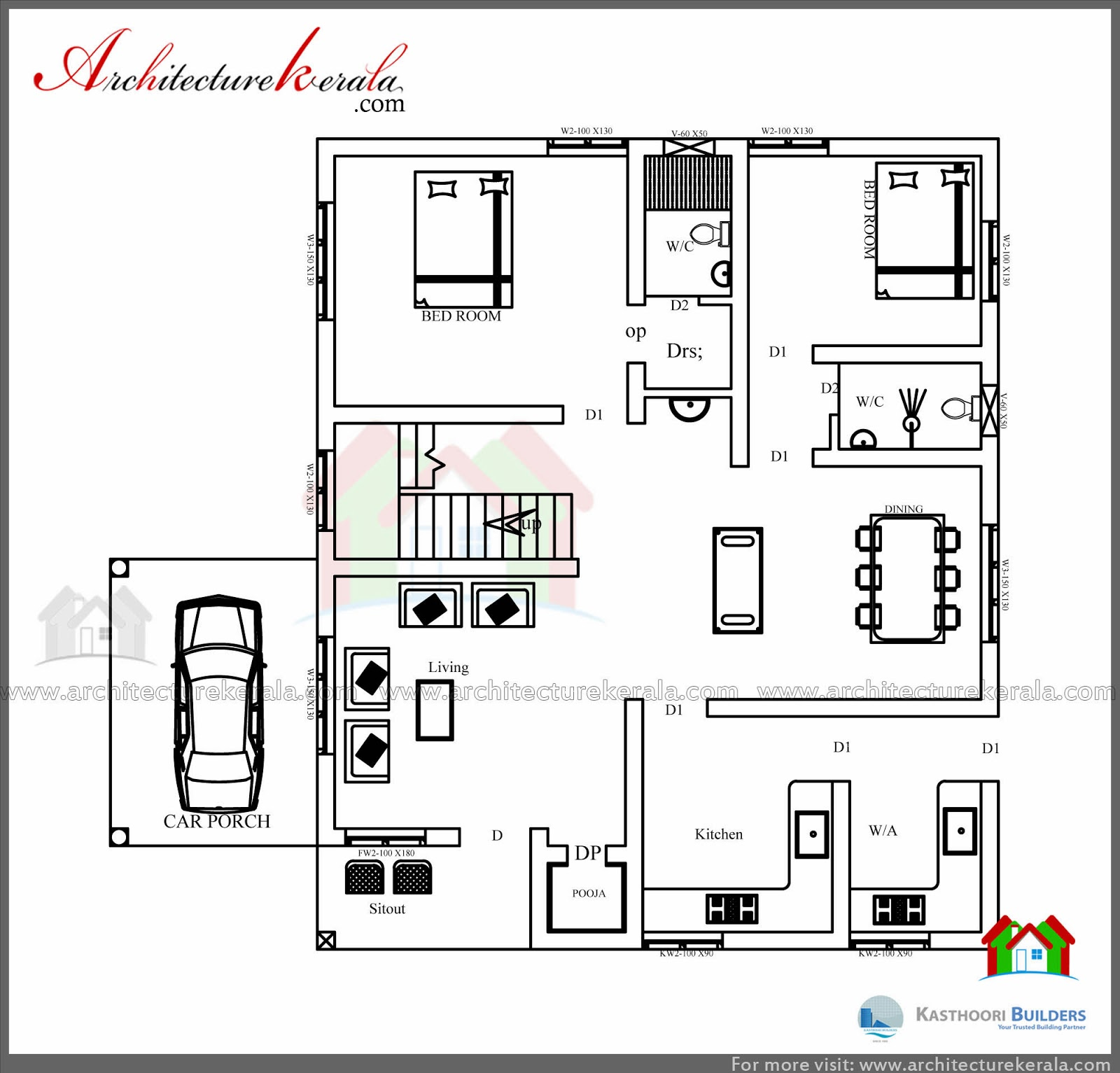 Beautiful double floor 03 bedroom kerala home design with for Www kerala house plan free