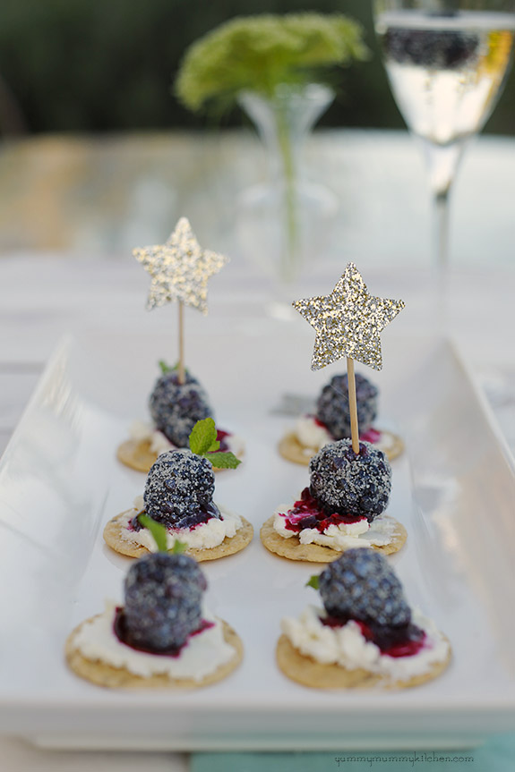 sugared blueberry and cream cheese bites are a sweet dessert for a party