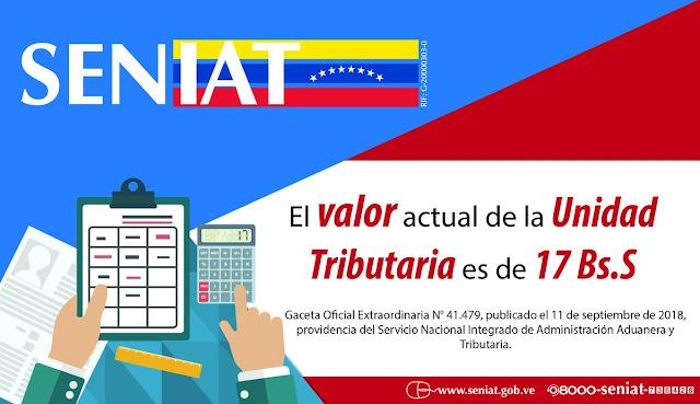Seniat ajustó la Unidad Tributaria a 17 bolívares