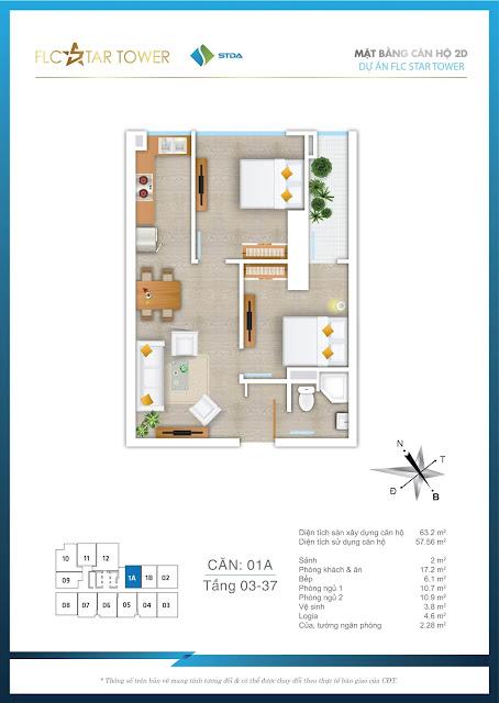 Thiết kế căn hộ 01A - FLC Star Tower